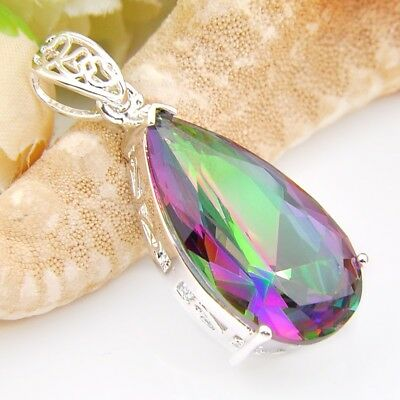 Wholesale Retro Waterdrop Rainbow Colored Topaz Gemstone Silver Pendant  1 - Rainbow Colored