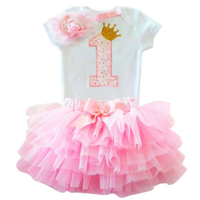 1st Birthday Outfit Girl (1st Birthday Tutu Outfits Sets Baby Girl Princess Romper Headband Kids)