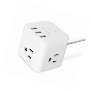 JSVER 3 Outlet Compact Cube Power Strip with 3 Smart USB Charging Ports and a