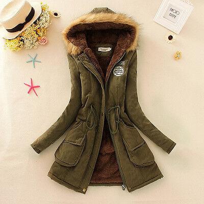 Womens Warm Long Coat Fur Collar Hooded Jacket Slim Winter Parka Outwear Coats
