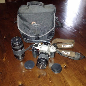 Canon Elan II E SLR with two lenses and lowepro bag