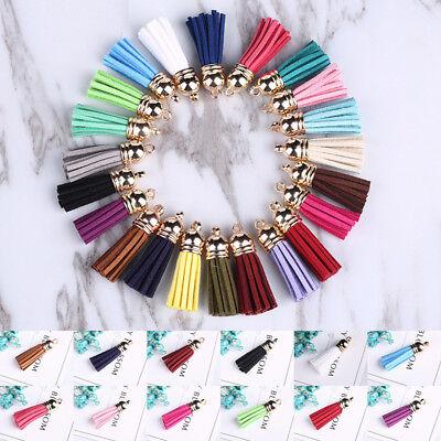 Diy Tassel Necklace (10pcs Tassel Pendant Fringe Suede Charm For Keyring Car Bag Necklace Crafts)