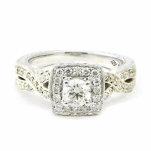 14k White Gold 4-Prong Engagement Ring, Size 5.75, Estate #3738