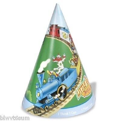 THE LITTLE ENGINE THAT COULD 8 PACK PARTY CONE HATS- RARE AND HARD TO FIND (Hard To Find Party Supplies)