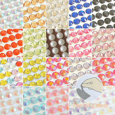 (SMALL Sticker Sheet 3-8mm Self-Adhesive Rhinestones & Pearls Stripe Colors Gems)