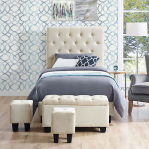 Faith Contemporary Upholstered Kids Bed with Storage Ottomans