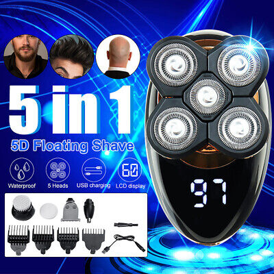 5 IN 1 4D Giratorio Maquinilla Eléctrica Recargable Calva Cabeza Barba Trimmer Υ