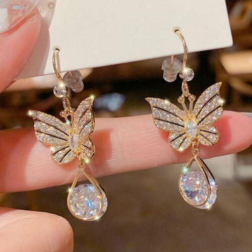 Jewellery - Fashion Butterfly Crystal Zircon Earrings Hook Drop Dangle Jewelry Women Gift