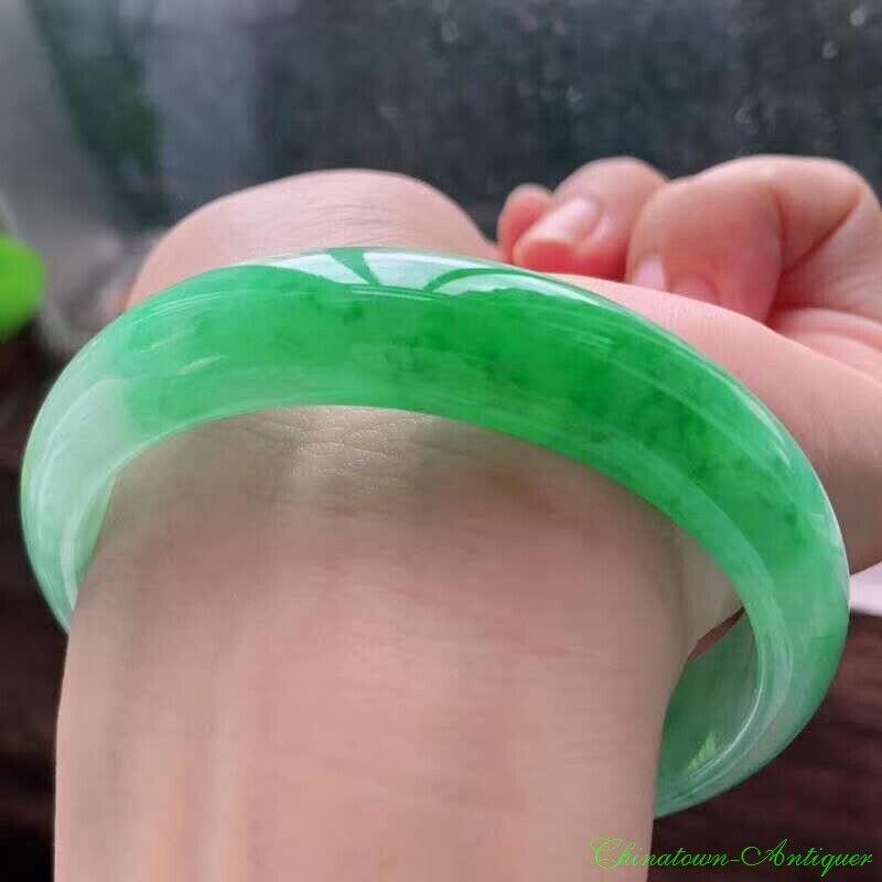 Burma Certified Grade A Ice Floating Green Jadeite Jade Bracelet Bangle #2467