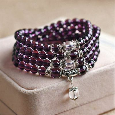 6mm stone Purple Amethyst Buddhist 108Prayer Beads Mala Bracelet/Necklace +Pouch