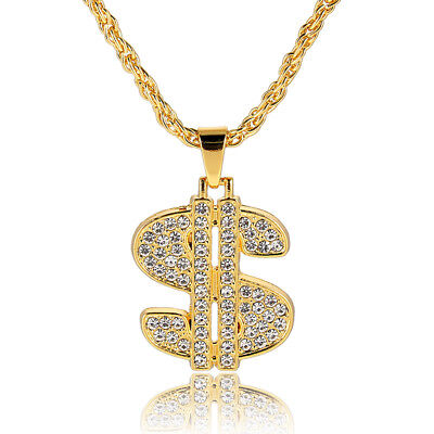 1Pcs Metal Men Gold Plated Chain Dollar Sign Pendant Chain Necklace Jewelry - Gold Dollar Sign Necklace