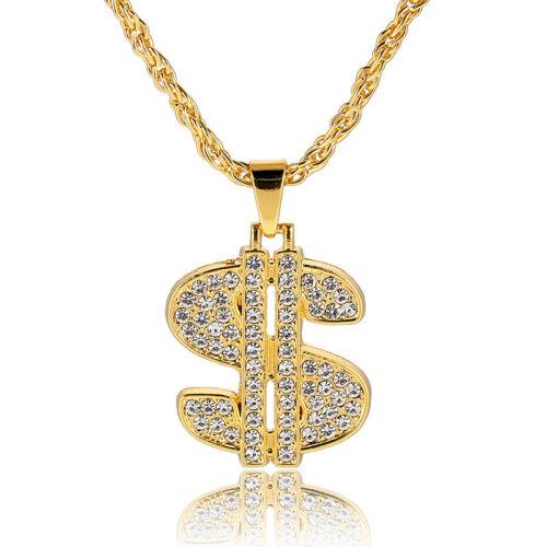 1Pcs Metal Men Gold Plated Chain Dollar Sign Pendant Chain N