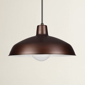 Two Brushed Copper Pendant Lights