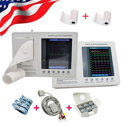 7portable Digital Electrocardiograph Ecgekg Machine 12lead 3channel Cable Lcd