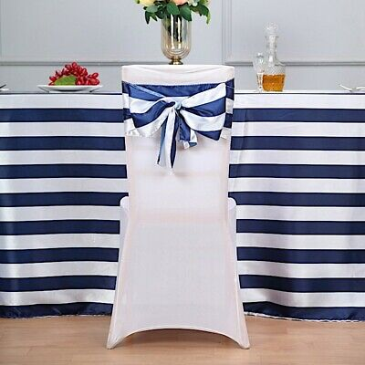 Navy Blue And White Wedding (5 Navy Blue White Satin Stripe Chair Sashes Wedding Party Decorations)