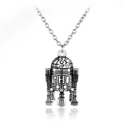 Star Wars Silver R2D2 Robot Retro Geek  Necklace Pendent Jewellery Free Gift Bag