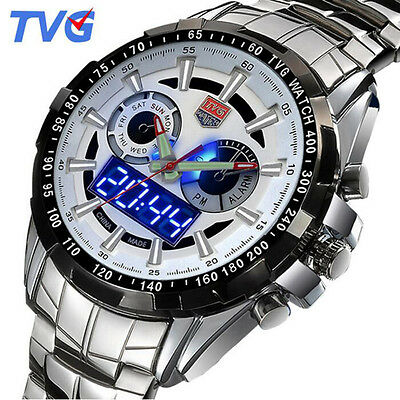 Tvg Blue Led Binary Dual Display Quartz Watch Waterproof Sport Watches For Men