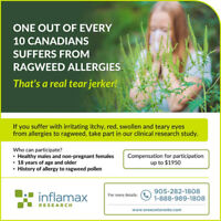 Ragweed Allergy Volunteers for Clinical Trial