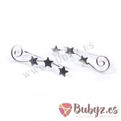 1594b21ccbdb Pendientes Trepadores en Plata de Ley Estrellas y Elipse 22 mm