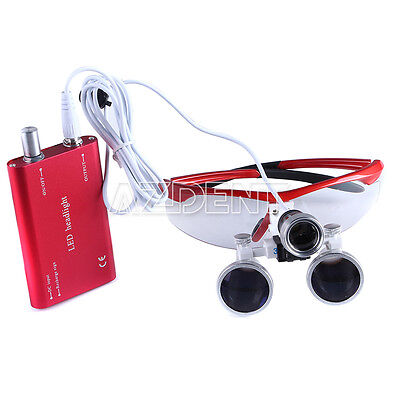 Dental Surgical Binocular Loupes Magnifier 3.5x-r Led Head Light Lamp Red