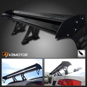 Black Aluminum Adjustable GT Double Deck F1 Style Trunk Spoiler Wing