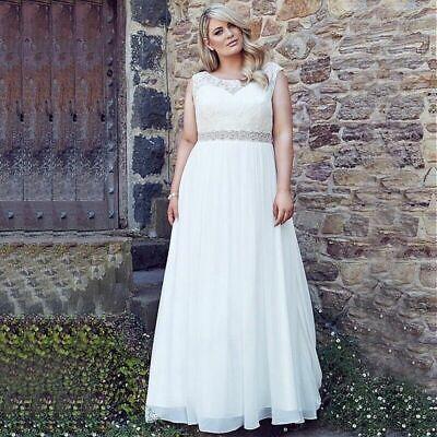 Plus Size Bridal - Plus Size Beach Wedding Dresses Scoop Neck Lace Chiffon Beaded Belt Bridal Gown