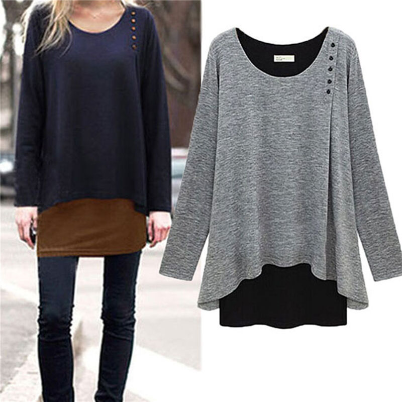 Women Long Sleeve Blouse Shirt Loose Tunic Sweater Pullover Jumper Top Plus Size