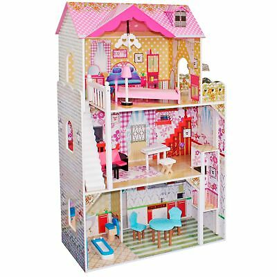 boppi® Toy Wooden Girls Dolls House 3 Storey Town Barbie + 14 Accessories