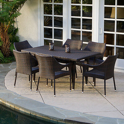 Outdoor Patio Furniture Elegant 7pcs Brown All-weather Wicker Dining Set