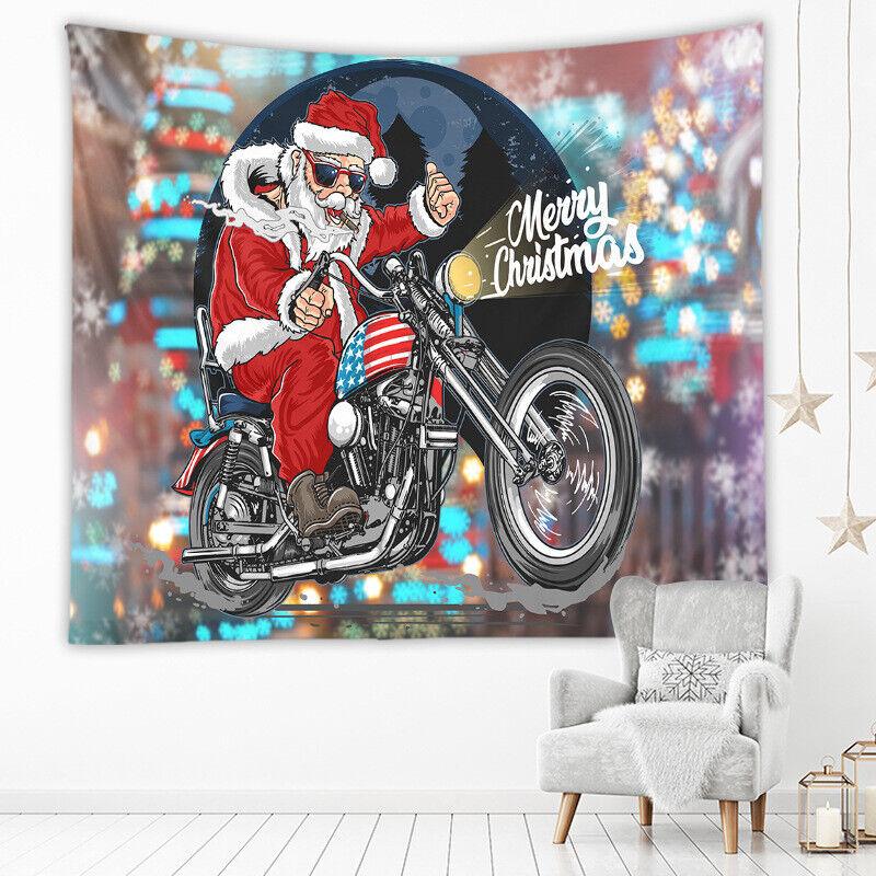 Tapestry Home Decor Wall Hanging Living Room Bedroom Christmas Santa Motorbike