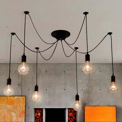 Modern 6-Light Spider Hanging Chandelier Edison Bulb Style Ceiling Lamp in Black