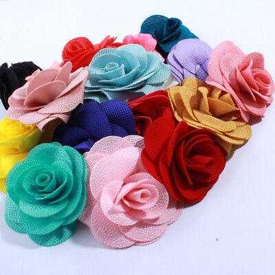 120pcs 7CM Big Fashion Burlap Fabric Flowers For Headwear Hair Flower](Burlap Flowers Bulk)