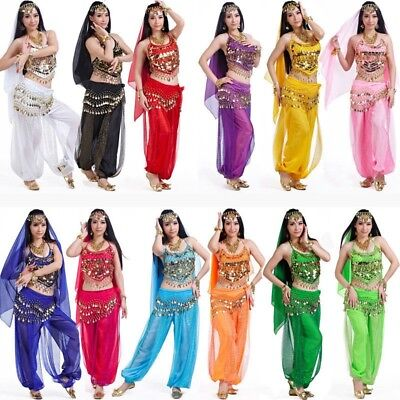 Arabic Belly Dance Costume Veil Top Hip Scarf Pants Suit Set Halloween Carnival