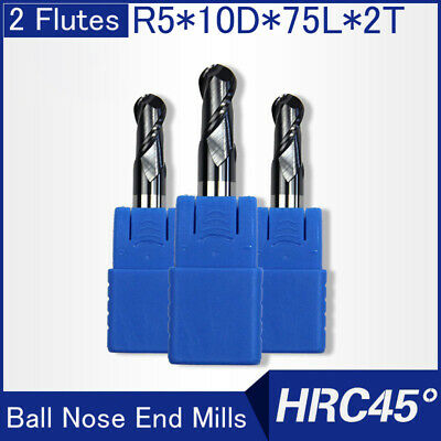 Hrc45 2flutes R5 Solid Carbide Ball Nose End Mills L 75mm