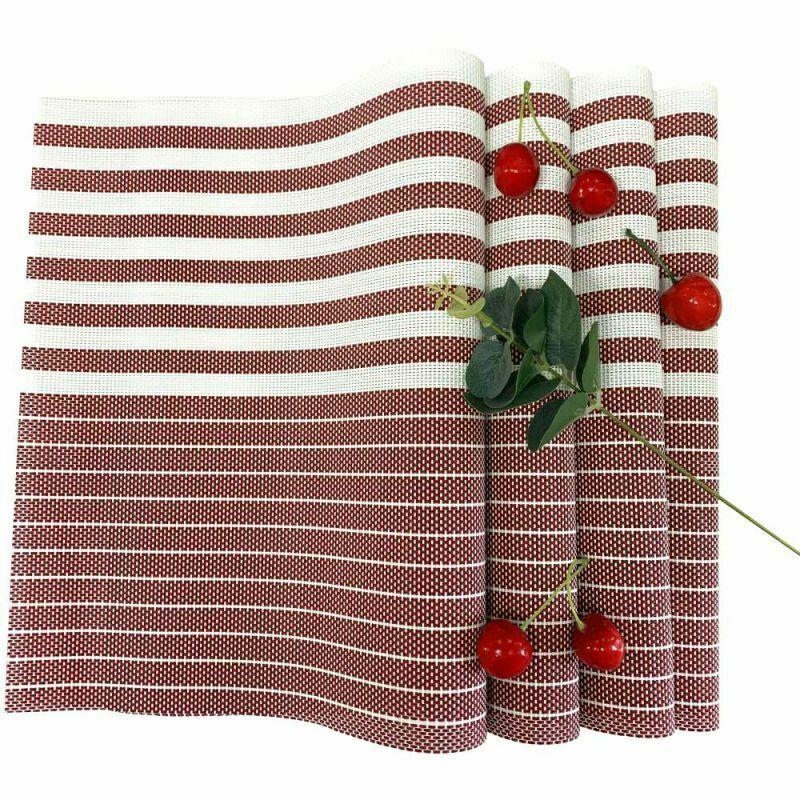 Placemats PVC Set of 6 Heat Resistant Washable DiningTable Mat Woven Blue Stripe