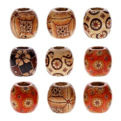 100pcs Mixed Large Hole Wooden-Beads Jewelry Charms Crafts Making DIY - Large Wood Beads