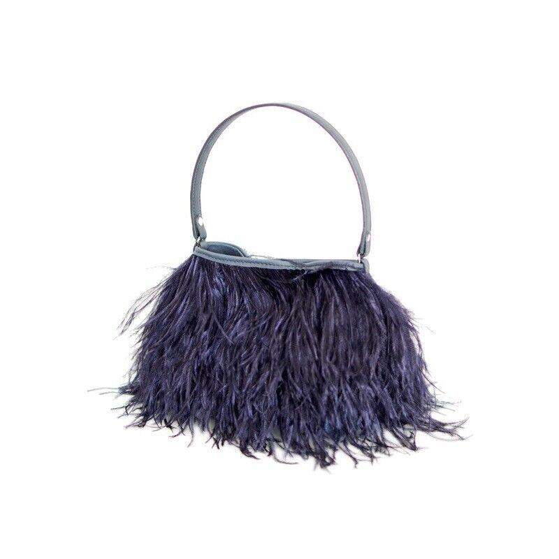 Rarity Bags,Handtasche,Tasche mit Straussenfedern,Federn,Federbag,nachtblau,blau