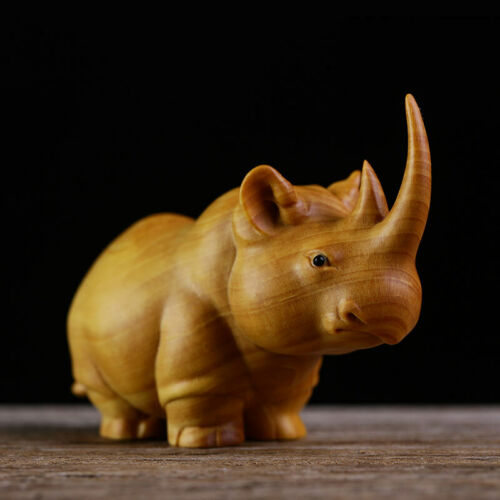"TB135 -- 3"" Big Carved Boxwood Carving - Powerful Rhino"