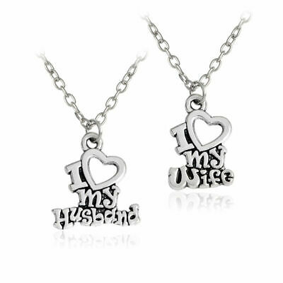2pcs Couple Necklaces I Love My Husband and Wife Best Friends Friendship