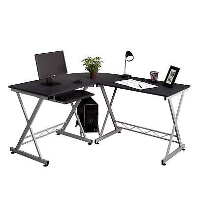 Wood L-Shape Computer Table Corner Sturdy Desk Home Office Furniture black
