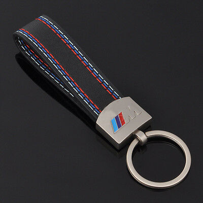 M-Tech Sports Power Performance Metal & Leather Key Ring Chain For BMW Key Fob