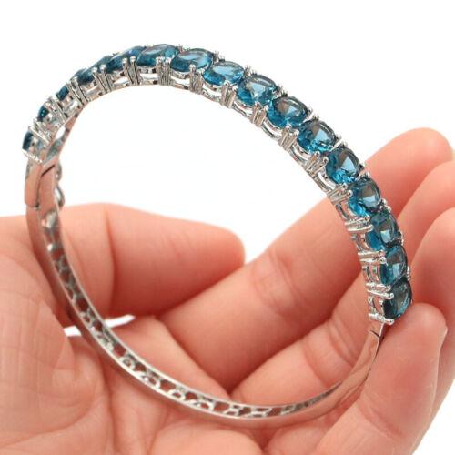 """8x6mm SheCrown London Blue Topaz Women Wedding Silver Bangle Bracelet 8.5"""""""
