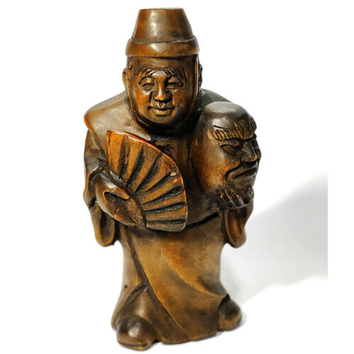"""Y7314 : 2"""" Hand Carved Boxwood Netsuke - Man with Fan"""