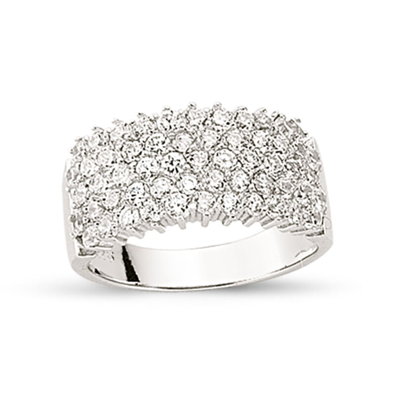 STERLING SILVER CZ HALF ETERNITY RING LADIES CUBIC ZIRCONIA WEDDING BAND BOXED