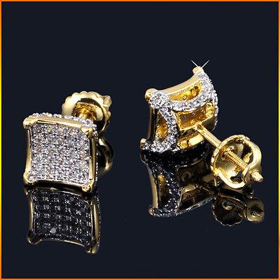 Mens Ladies 18K Gold Finish SI1 Clarity Lab Diamond Screw Back Stud Earrings 8mm