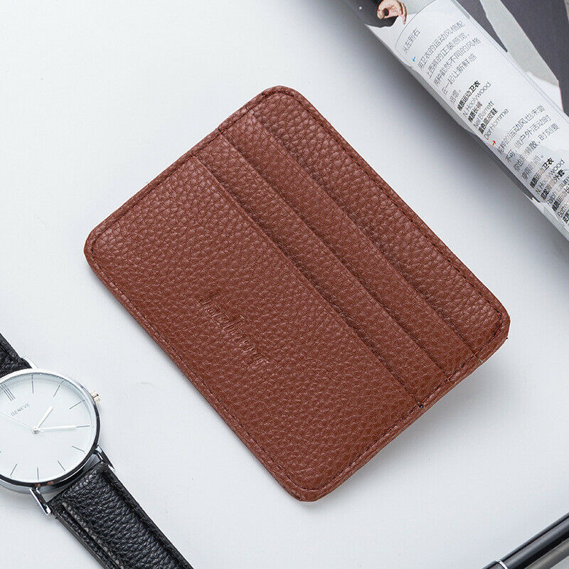 Slim Minimalist Leather Credit Card Holder Pocket Wallets for Men & Women US Clothing, Shoes & Accessories