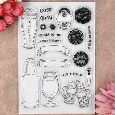 LET'S CELEBRATE CHEERS BEER BIRTHDAY Scrapbook DIY clear stamp transparent - Birthday Beer