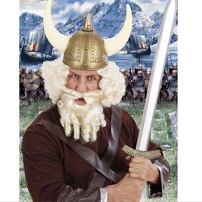 Weiße Kostüm Bart (Wikinger Perücke mit Bart - Thore weiß Herren Kostüm Zubehör Karneval  #556)