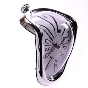 Silver Framed Novelty Melting Shelf Salvador Dali Clock Office Home Decor CLCK14