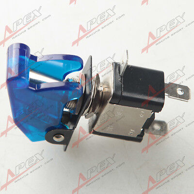 2pcs Car Racing On Off Aircraft Type Toggle Switch Control Flip Cover 12v Blue